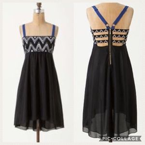 Anthro | Leifnotes Black Geo Abaco Silk Dress 2